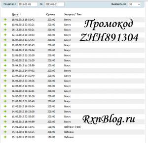 Скрин бонусов с Мажордомо с промокодом  ZHH891304